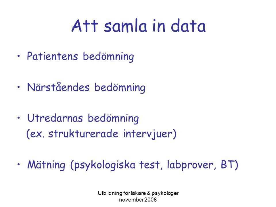 Utbildning för läkare & psykologer november 2008 Att samla in data •Patientens bedömning •Närståendes bedömning •Utredarnas bedömning (ex.