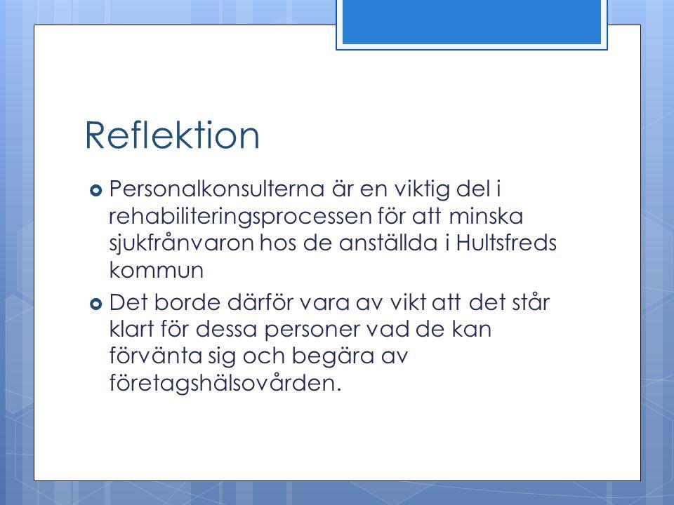 Reflektion  Personalkonsulterna är en viktig del i rehabiliteringsprocessen för att minska sjukfrånvaron hos de anställda i Hultsfreds kommun  Det b