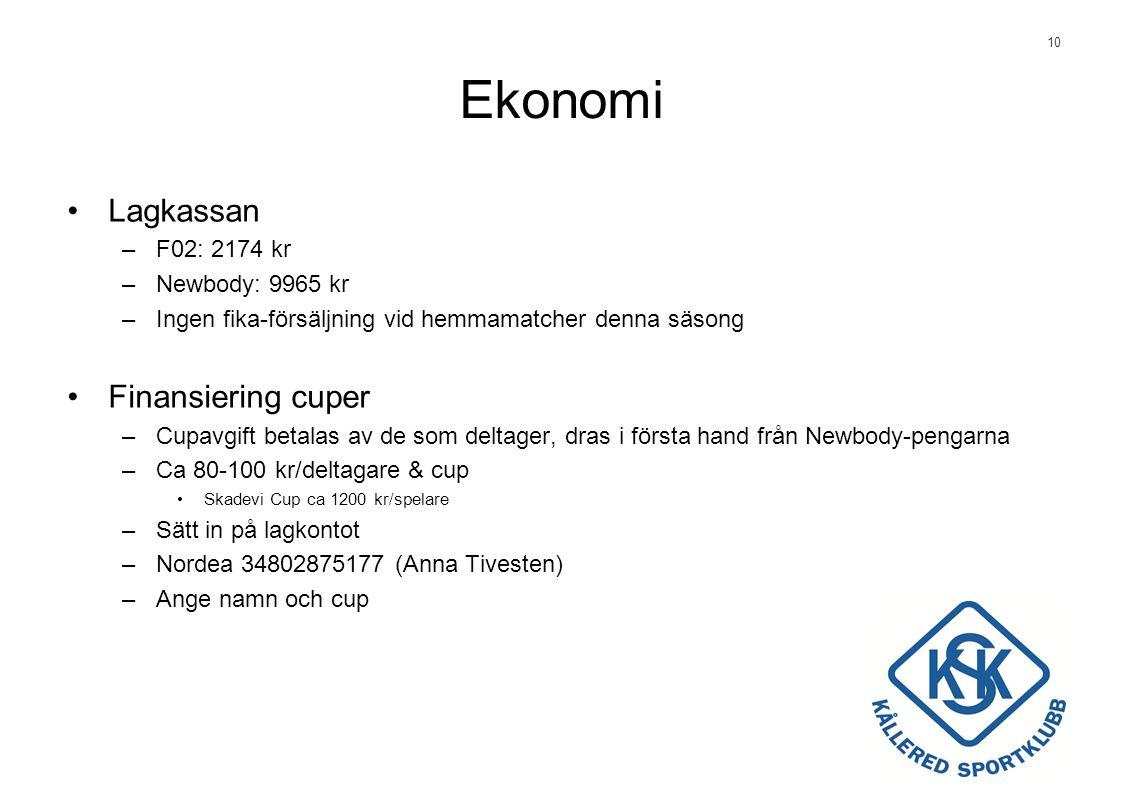 10 Ekonomi •Lagkassan –F02: 2174 kr –Newbody: 9965 kr –Ingen fika-försäljning vid hemmamatcher denna säsong •Finansiering cuper –Cupavgift betalas av de som deltager, dras i första hand från Newbody-pengarna –Ca 80-100 kr/deltagare & cup •Skadevi Cup ca 1200 kr/spelare –Sätt in på lagkontot –Nordea 34802875177 (Anna Tivesten) –Ange namn och cup