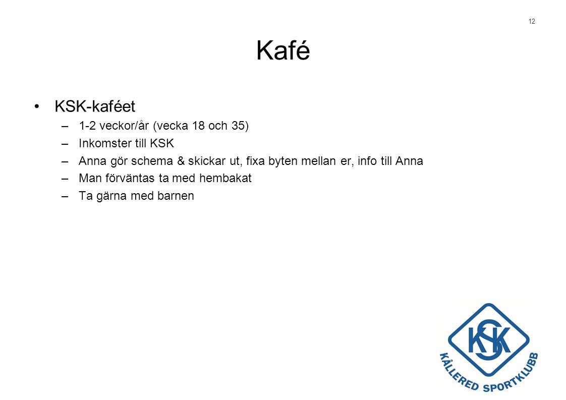 12 Kafé •KSK-kaféet –1-2 veckor/år (vecka 18 och 35) –Inkomster till KSK –Anna gör schema & skickar ut, fixa byten mellan er, info till Anna –Man förväntas ta med hembakat –Ta gärna med barnen