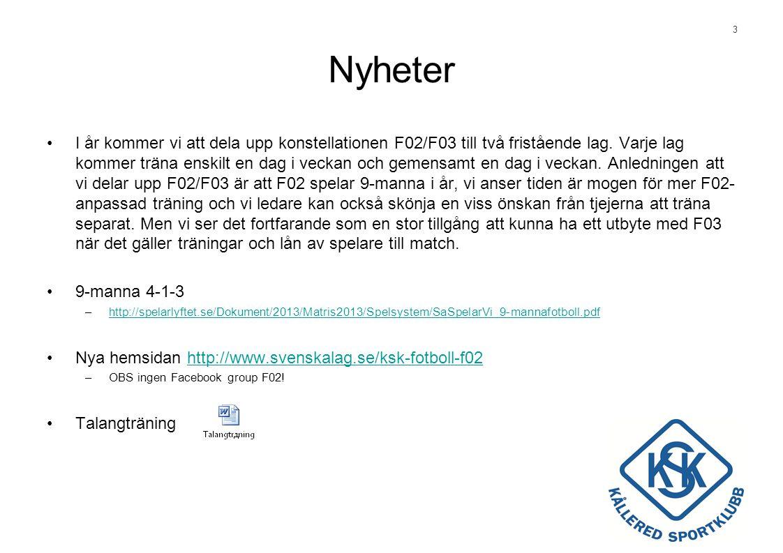 3 Nyheter •I år kommer vi att dela upp konstellationen F02/F03 till två fristående lag.