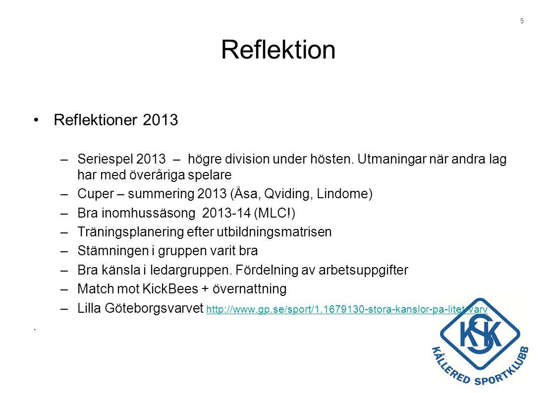 5 Reflektion •Reflektioner 2013 –Seriespel 2013 – högre division under hösten.