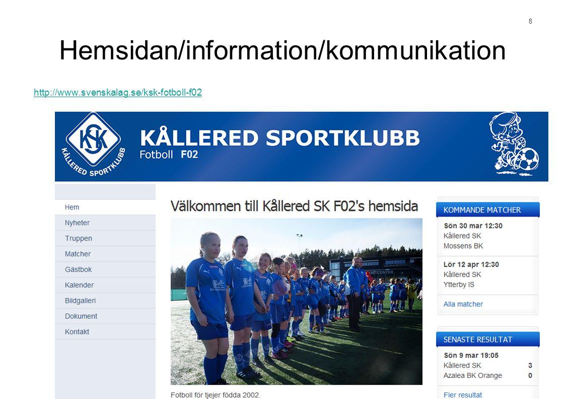 8 Hemsidan/information/kommunikation http://www.svenskalag.se/ksk-fotboll-f02