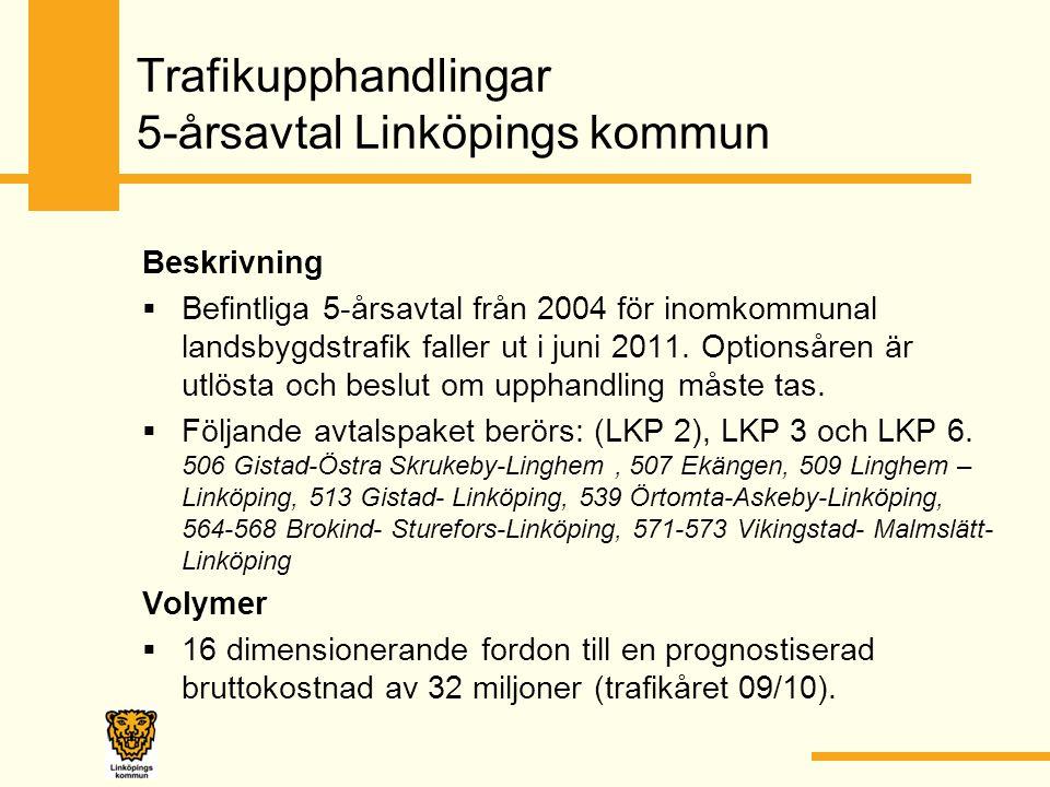 Trafikupphandlingar 5-årsavtal Linköpings kommun Beskrivning  Befintliga 5-årsavtal från 2004 för inomkommunal landsbygdstrafik faller ut i juni 2011.