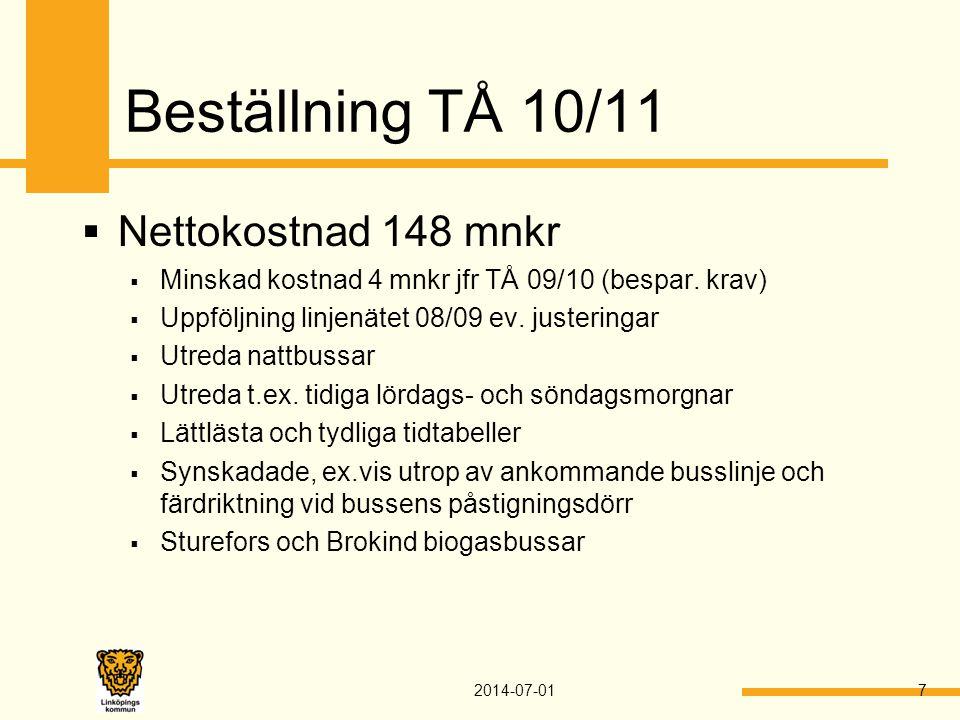 Beställning TÅ 10/11  Nettokostnad 148 mnkr  Minskad kostnad 4 mnkr jfr TÅ 09/10 (bespar. krav)  Uppföljning linjenätet 08/09 ev. justeringar  Utr