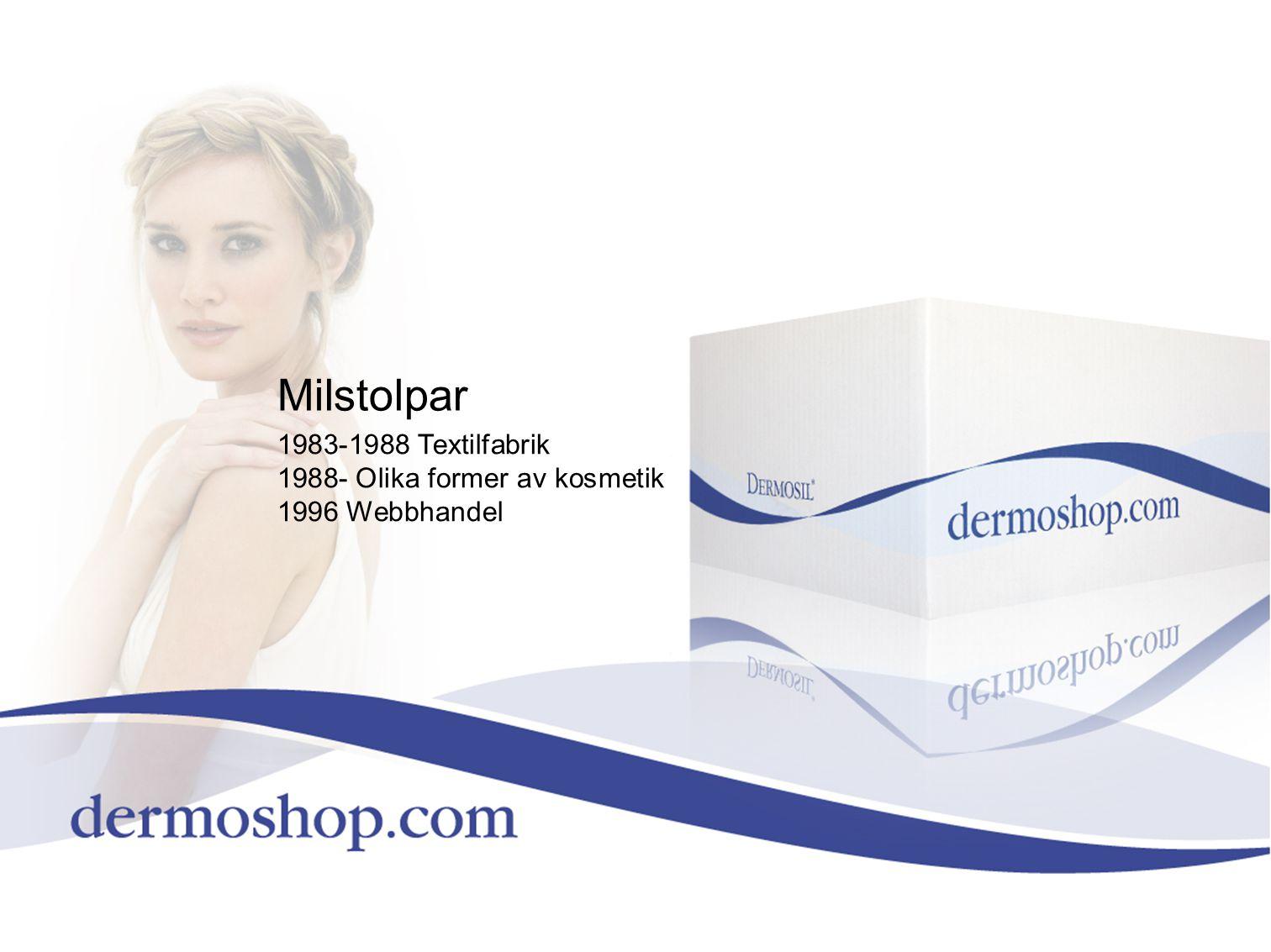 Milstolpar 1983-1988 Textilfabrik 1988- Olika former av kosmetik 1996 Webbhandel