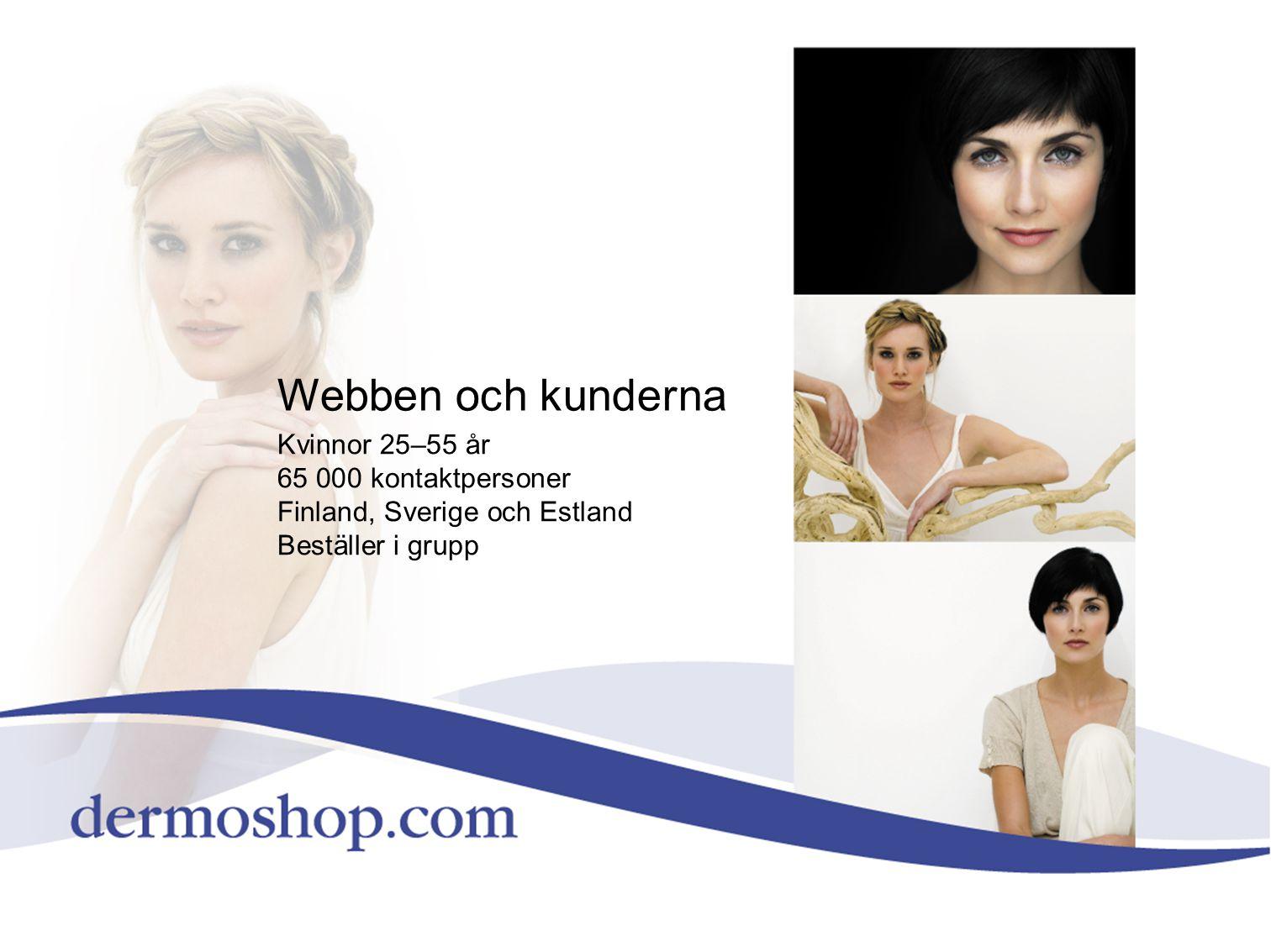 Webben och kunderna Kvinnor 25–55 år 65 000 kontaktpersoner Finland, Sverige och Estland Beställer i grupp