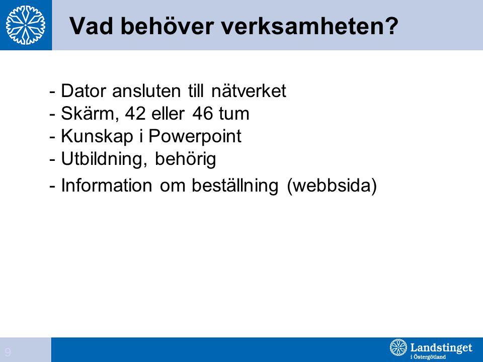 Vad behöver verksamheten? - Dator ansluten till nätverket - Skärm, 42 eller 46 tum - Kunskap i Powerpoint - Utbildning, behörig - Information om bestä