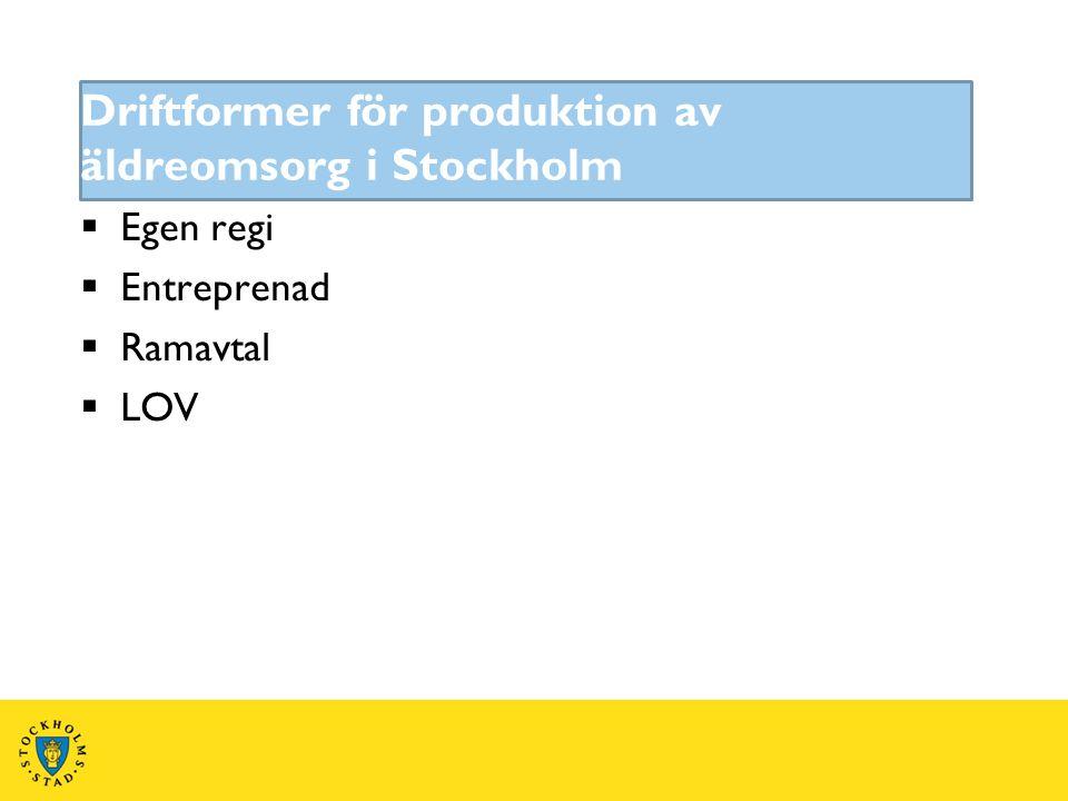  Egen regi  Entreprenad  Ramavtal  LOV Driftformer för produktion av äldreomsorg i Stockholm