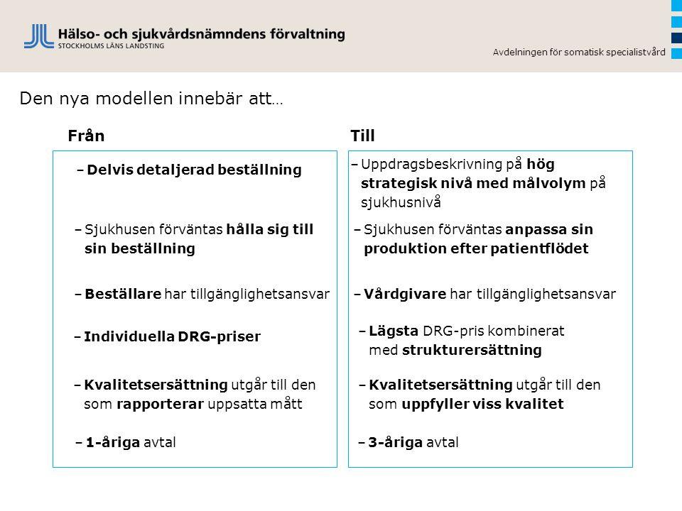 Avdelningen för somatisk specialistvård Den nya modellen innebär att … –Individuella DRG-priser –Delvis detaljerad beställning –Sjukhusen förväntas hå