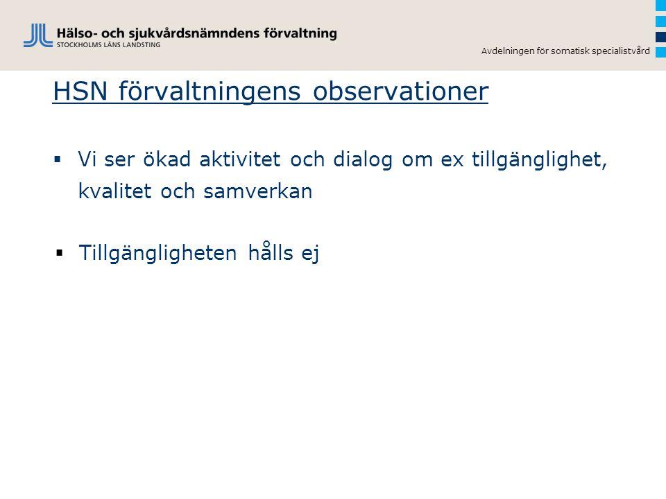 Avdelningen för somatisk specialistvård HSN förvaltningens observationer  Vi ser ökad aktivitet och dialog om ex tillgänglighet, kvalitet och samverk