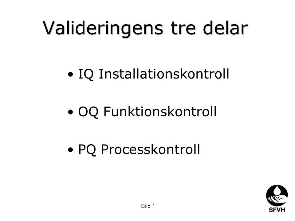 Bild 1 Valideringens tre delar •IQ Installationskontroll •OQ Funktionskontroll •PQ Processkontroll