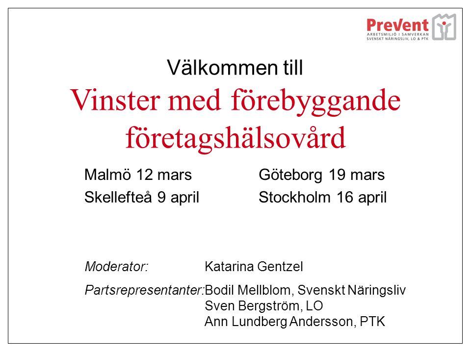 Välkommen till Vinster med förebyggande företagshälsovård Malmö 12 mars Skellefteå 9 april Göteborg 19 mars Stockholm 16 april Moderator:Katarina Gent