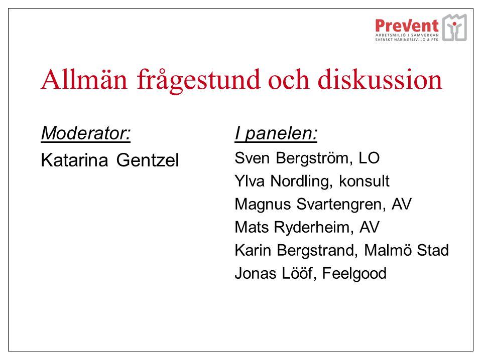 Allmän frågestund och diskussion Moderator: Katarina Gentzel I panelen: Sven Bergström, LO Ylva Nordling, konsult Magnus Svartengren, AV Mats Ryderhei