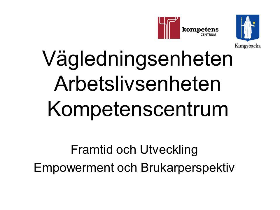 Vägledningsenheten Arbetslivsenheten Kompetenscentrum Framtid och Utveckling Empowerment och Brukarperspektiv