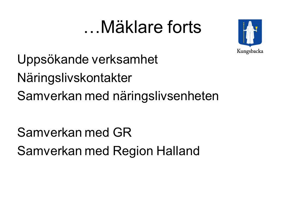 …Mäklare forts Uppsökande verksamhet Näringslivskontakter Samverkan med näringslivsenheten Samverkan med GR Samverkan med Region Halland