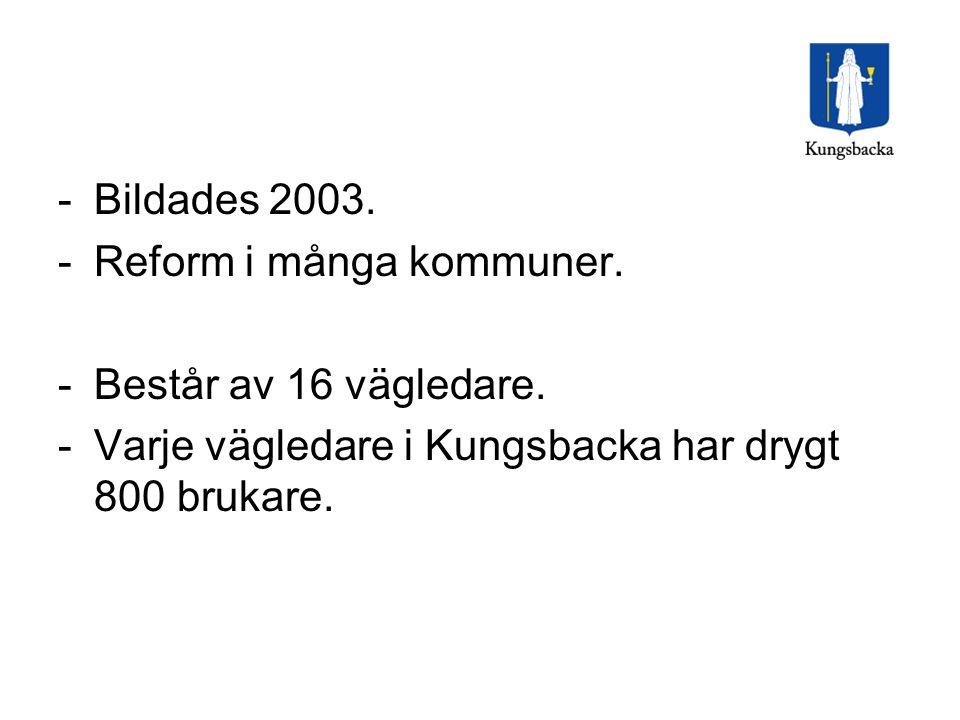 -Bildades 2003. -Reform i många kommuner. -Består av 16 vägledare. -Varje vägledare i Kungsbacka har drygt 800 brukare.