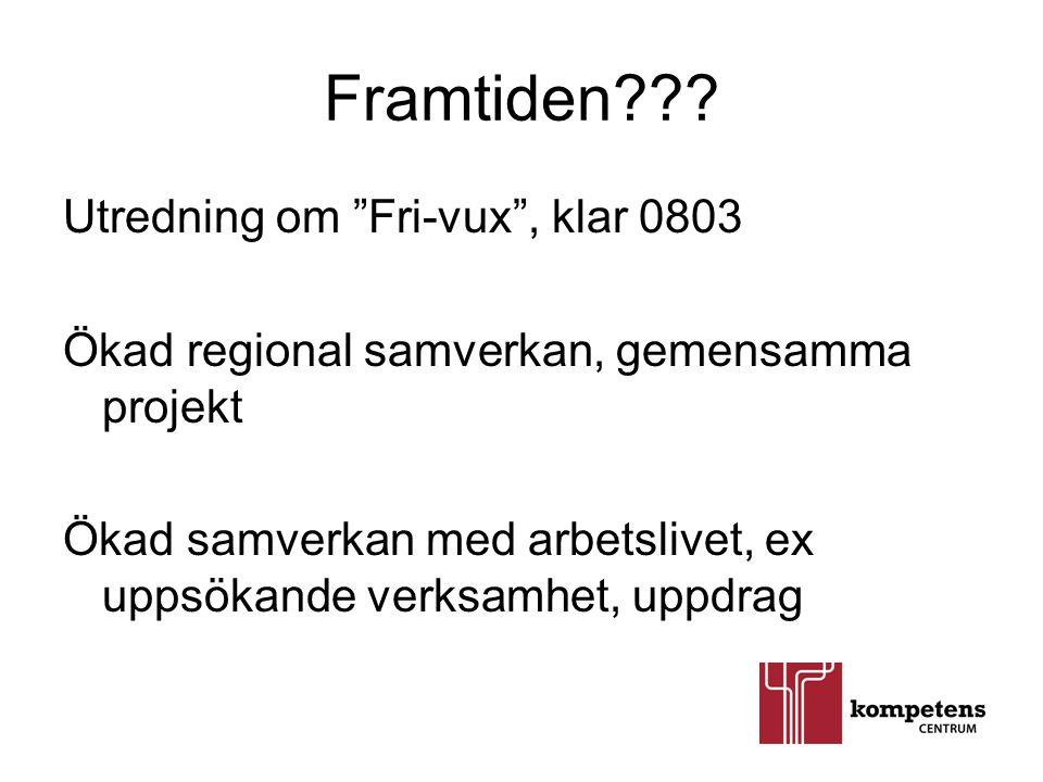 """Framtiden??? Utredning om """"Fri-vux"""", klar 0803 Ökad regional samverkan, gemensamma projekt Ökad samverkan med arbetslivet, ex uppsökande verksamhet, u"""