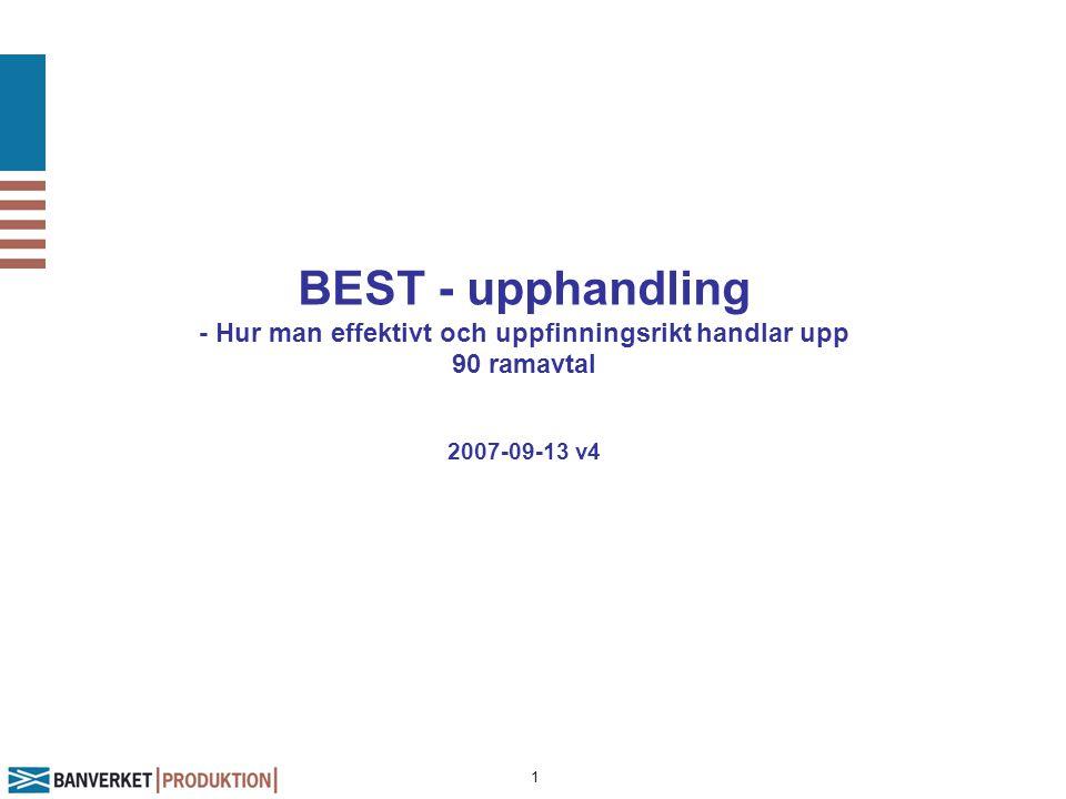 1 BEST - upphandling - Hur man effektivt och uppfinningsrikt handlar upp 90 ramavtal 2007-09-13 v4