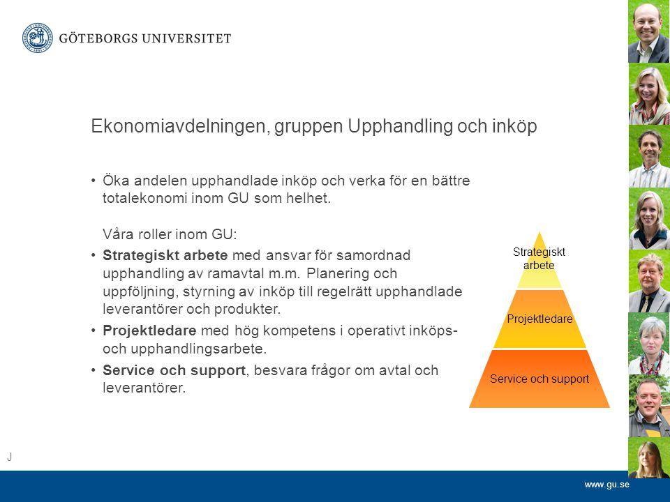 www.gu.se Ekonomiavdelningen, gruppen Upphandling och inköp •Öka andelen upphandlade inköp och verka för en bättre totalekonomi inom GU som helhet.
