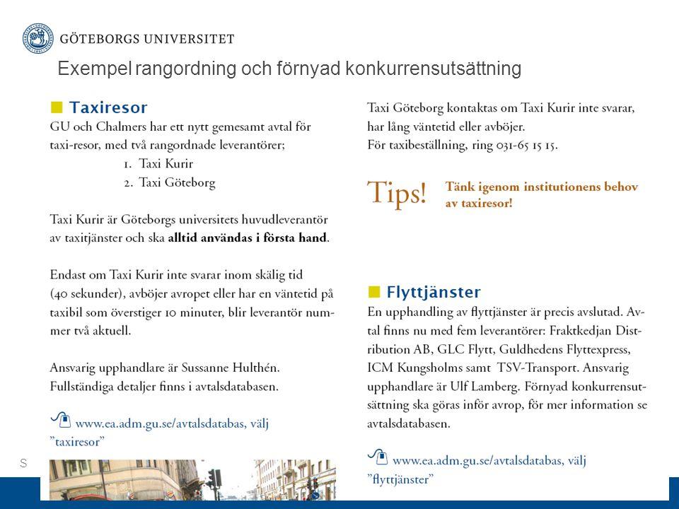www.gu.se Exempel rangordning och förnyad konkurrensutsättning S