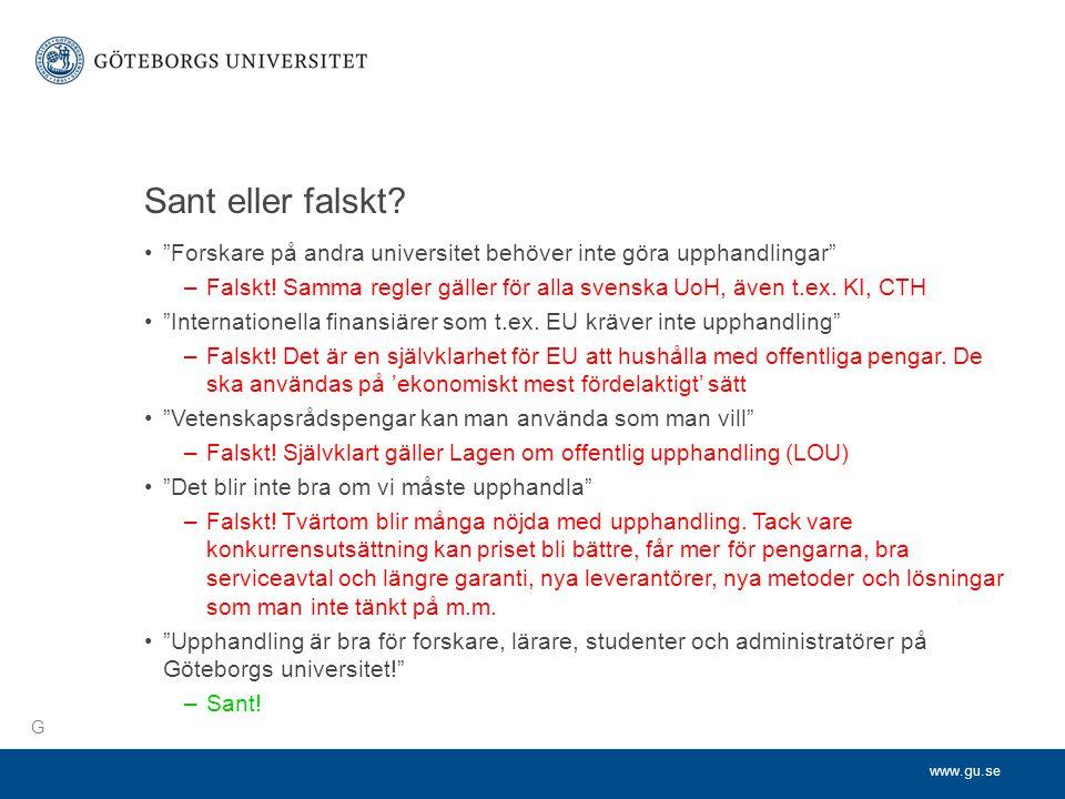 www.gu.se Sant eller falskt.
