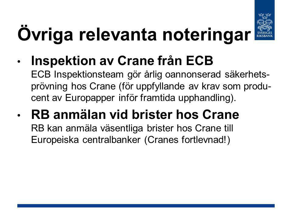 Övriga relevanta noteringar • Inspektion av Crane från ECB ECB Inspektionsteam gör årlig oannonserad säkerhets- prövning hos Crane (för uppfyllande av