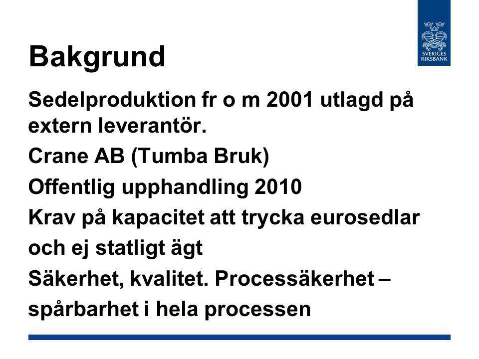 Bakgrund Sedelproduktion fr o m 2001 utlagd på extern leverantör. Crane AB (Tumba Bruk) Offentlig upphandling 2010 Krav på kapacitet att trycka eurose