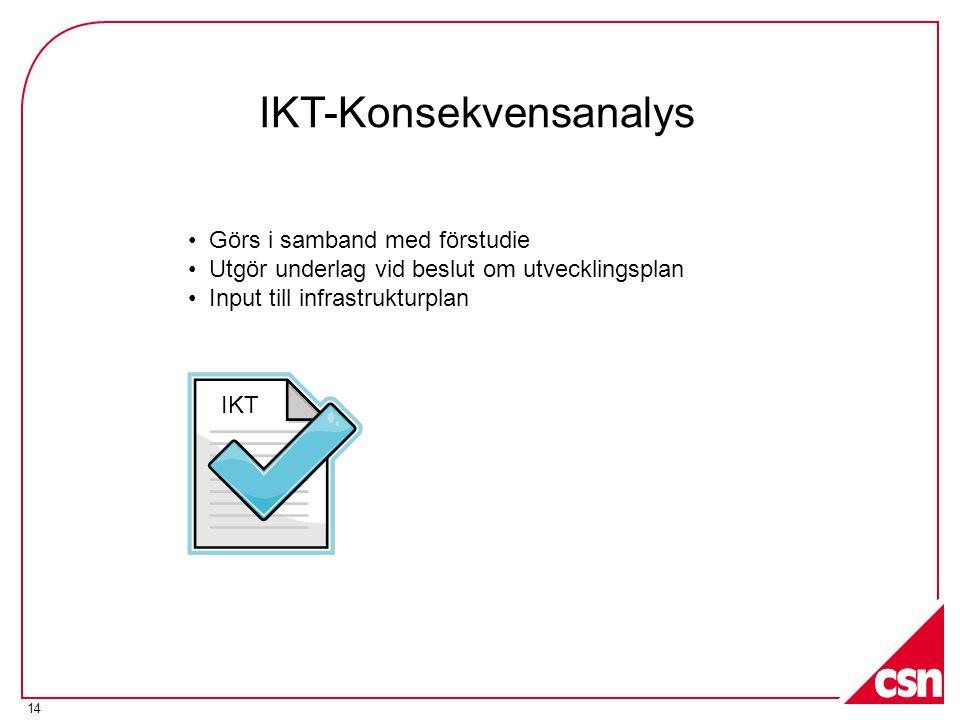 14 IKT-Konsekvensanalys • Görs i samband med förstudie • Utgör underlag vid beslut om utvecklingsplan • Input till infrastrukturplan IKT