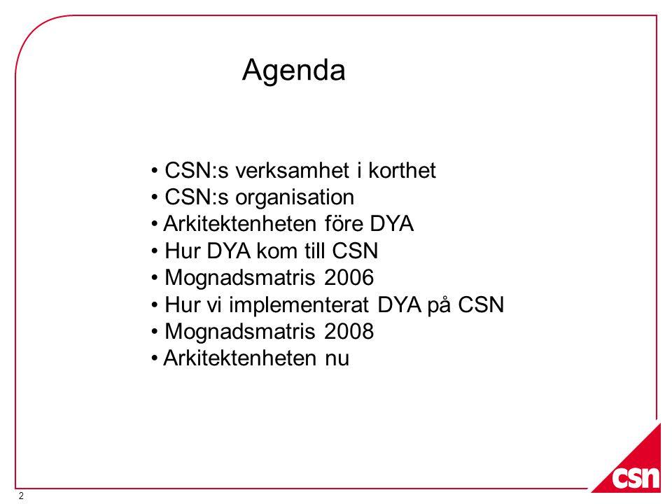 2 • CSN:s verksamhet i korthet • CSN:s organisation • Arkitektenheten före DYA • Hur DYA kom till CSN • Mognadsmatris 2006 • Hur vi implementerat DYA på CSN • Mognadsmatris 2008 • Arkitektenheten nu Agenda