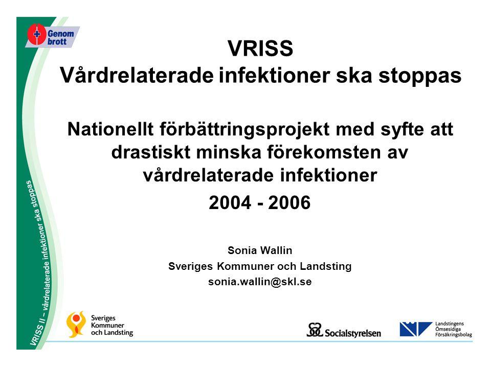 VRISS Vårdrelaterade infektioner ska stoppas Nationellt förbättringsprojekt med syfte att drastiskt minska förekomsten av vårdrelaterade infektioner 2