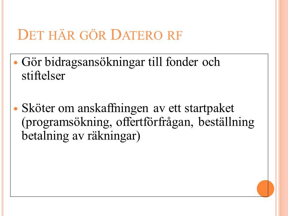 D ET HÄR GÖR D ATERO RF  Gör bidragsansökningar till fonder och stiftelser  Sköter om anskaffningen av ett startpaket (programsökning, offertförfråg