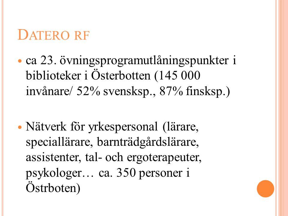 D ATERO RF  ca 23. övningsprogramutlåningspunkter i biblioteker i Österbotten (145 000 invånare/ 52% svensksp., 87% finsksp.)  Nätverk för yrkespers