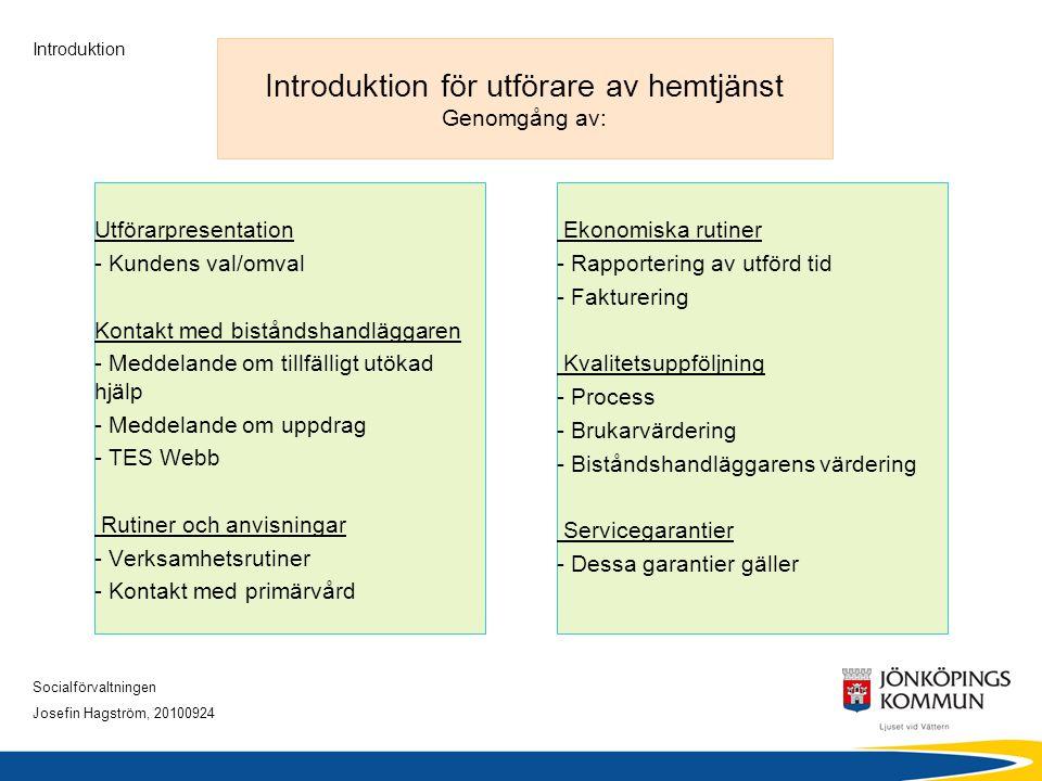Socialförvaltningen Josefin Hagström, 20100924 Introduktion Introduktion för utförare av hemtjänst Genomgång av: Utförarpresentation - Kundens val/omv