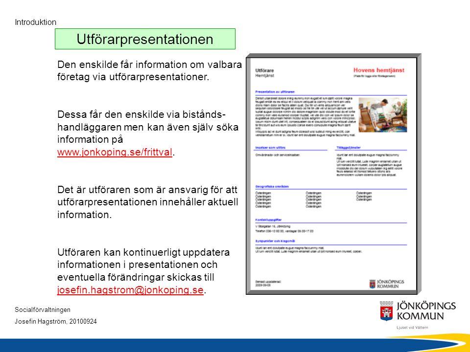 Socialförvaltningen Josefin Hagström, 20100924 Introduktion Utförarpresentationen Den enskilde får information om valbara företag via utförarpresentat