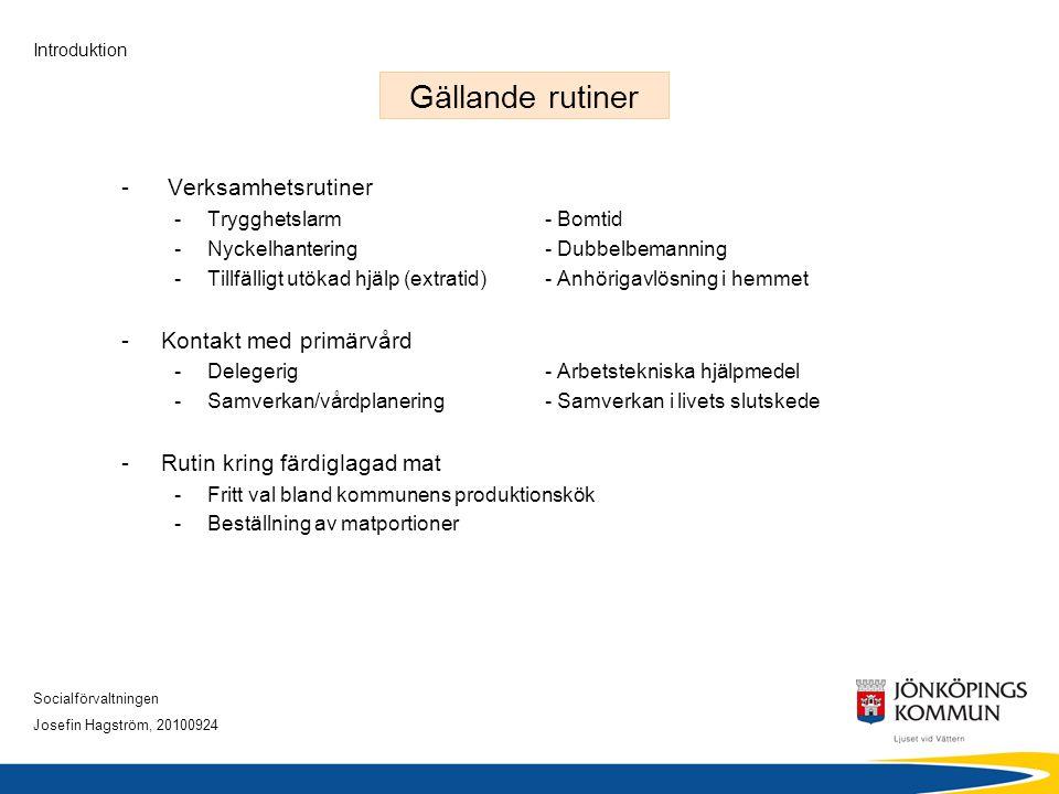 Socialförvaltningen Josefin Hagström, 20100924 Introduktion Gällande rutiner - Verksamhetsrutiner -Trygghetslarm- Bomtid -Nyckelhantering- Dubbelbeman