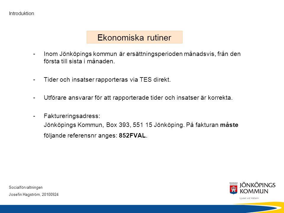 Socialförvaltningen Josefin Hagström, 20100924 Introduktion Ekonomiska rutiner -Inom Jönköpings kommun är ersättningsperioden månadsvis, från den förs