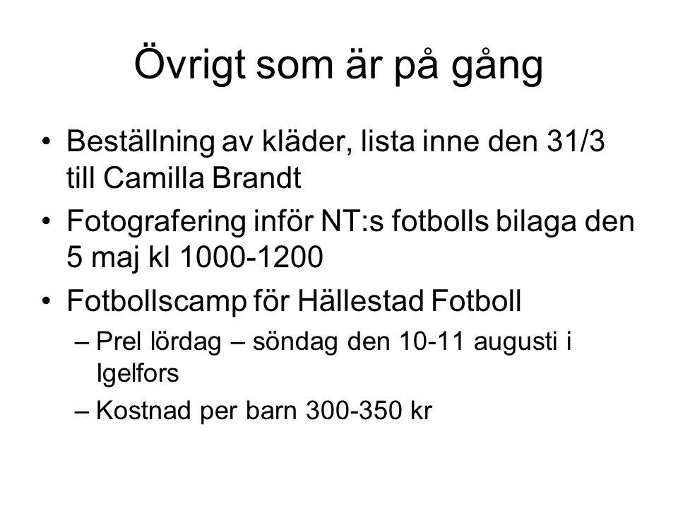 Övrigt som är på gång •Beställning av kläder, lista inne den 31/3 till Camilla Brandt •Fotografering inför NT:s fotbolls bilaga den 5 maj kl 1000-1200