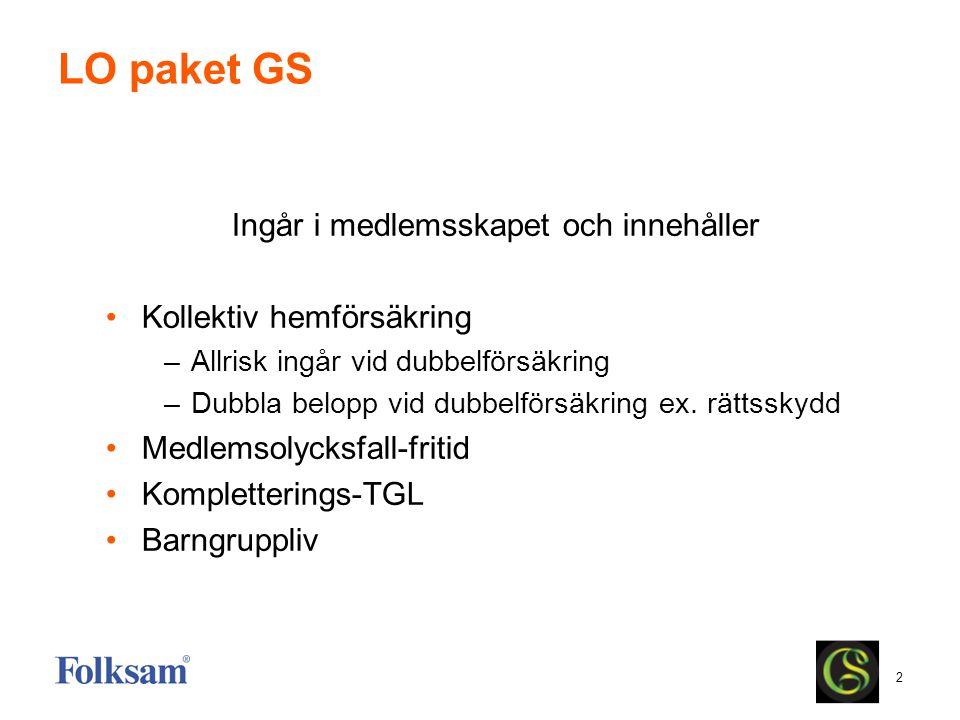 2 LO paket GS Ingår i medlemsskapet och innehåller •Kollektiv hemförsäkring –Allrisk ingår vid dubbelförsäkring –Dubbla belopp vid dubbelförsäkring ex