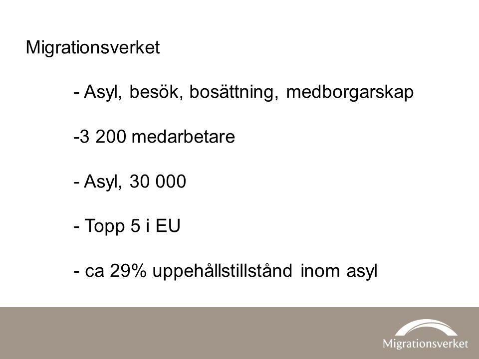 Migrationsverket - Asyl, besök, bosättning, medborgarskap -3 200 medarbetare - Asyl, 30 000 - Topp 5 i EU - ca 29% uppehållstillstånd inom asyl