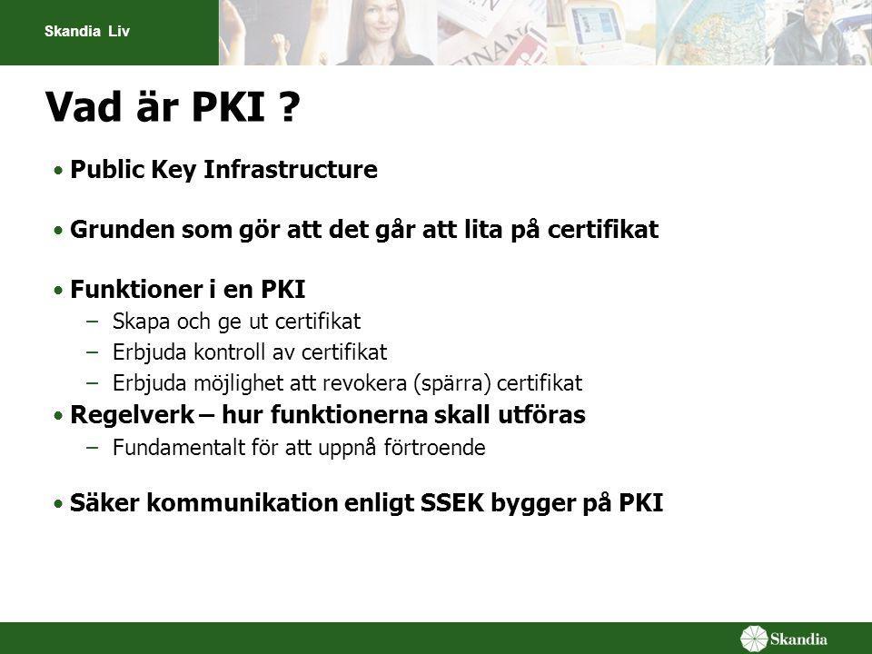 Skandia Liv Vad är PKI ? •Public Key Infrastructure •Grunden som gör att det går att lita på certifikat •Funktioner i en PKI –Skapa och ge ut certifik