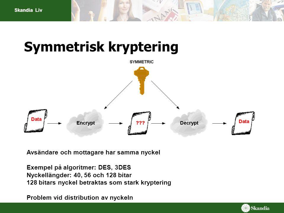 Skandia Liv Symmetrisk kryptering Avsändare och mottagare har samma nyckel Exempel på algoritmer: DES, 3DES Nyckellängder: 40, 56 och 128 bitar 128 bi