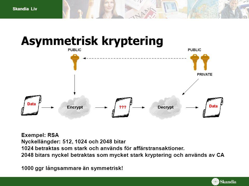 Skandia Liv Asymmetrisk kryptering Exempel: RSA Nyckellängder: 512, 1024 och 2048 bitar 1024 betraktas som stark och används för affärstransaktioner.