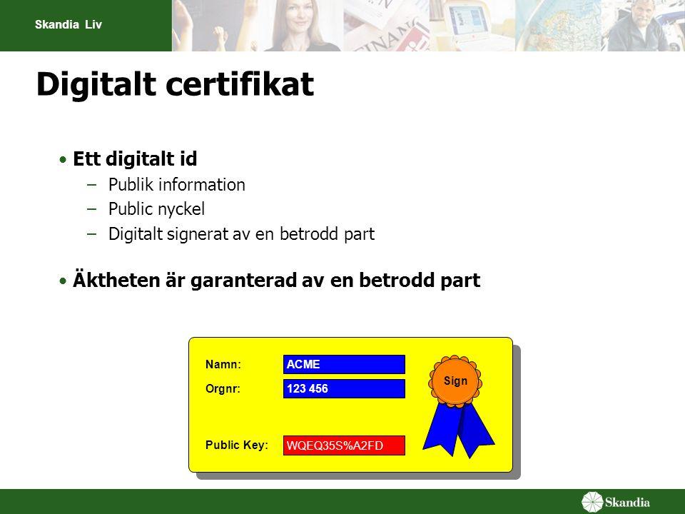 Skandia Liv •Ett digitalt id –Publik information –Public nyckel –Digitalt signerat av en betrodd part •Äktheten är garanterad av en betrodd part Publi