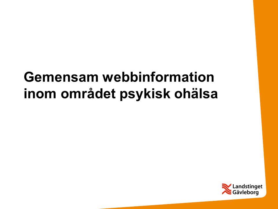 Gemensam webbinformation inom området psykisk ohälsa