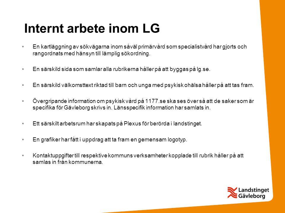 Internt arbete inom LG •En kartläggning av sökvägarna inom såväl primärvård som specialistvård har gjorts och rangordnats med hänsyn till lämplig söko