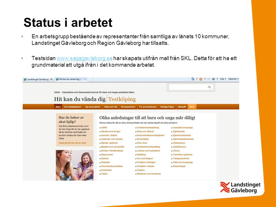 Status i arbetet •En arbetsgrupp bestående av representanter från samtliga av länets 10 kommuner, Landstinget Gävleborg och Region Gävleborg har tills