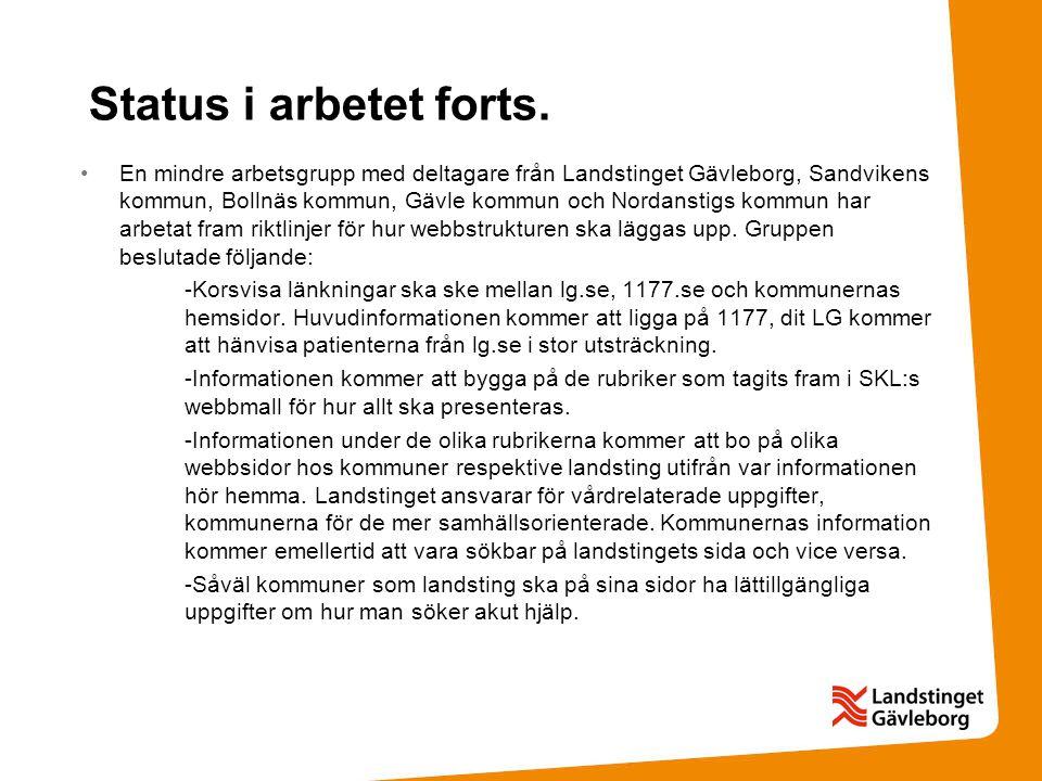 Status i arbetet forts. •En mindre arbetsgrupp med deltagare från Landstinget Gävleborg, Sandvikens kommun, Bollnäs kommun, Gävle kommun och Nordansti