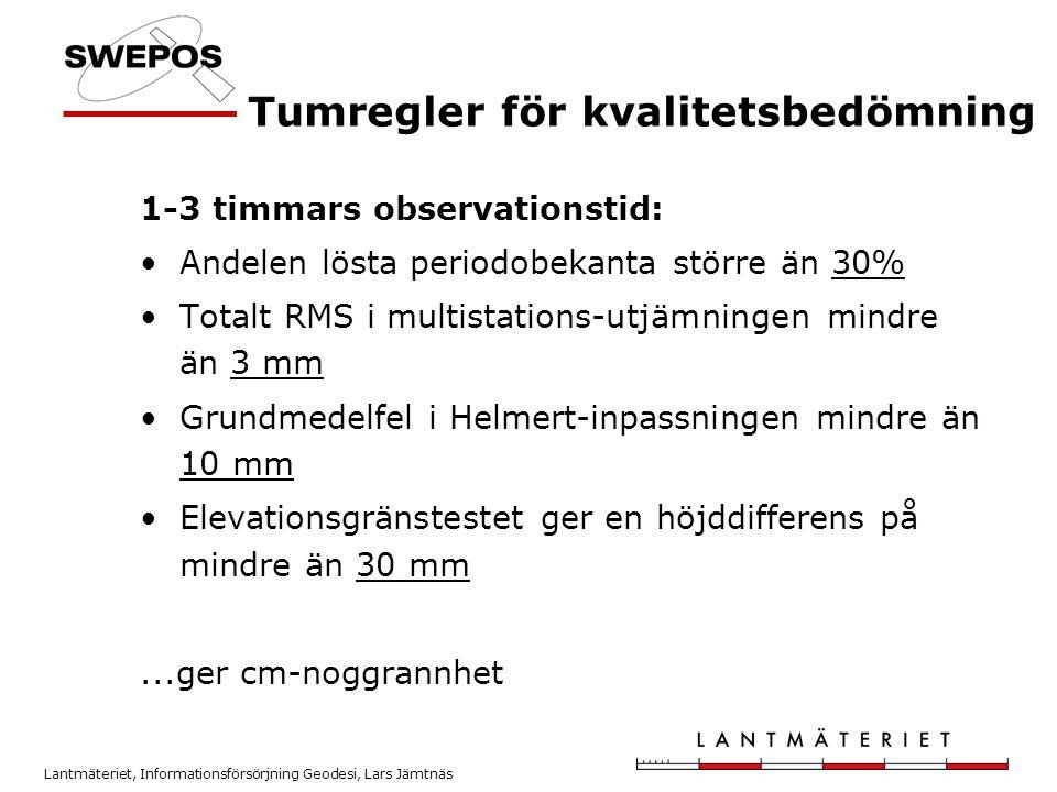 Lantmäteriet, Informationsförsörjning Geodesi, Lars Jämtnäs Tumregler för kvalitetsbedömning 1-3 timmars observationstid: •Andelen lösta periodobekant