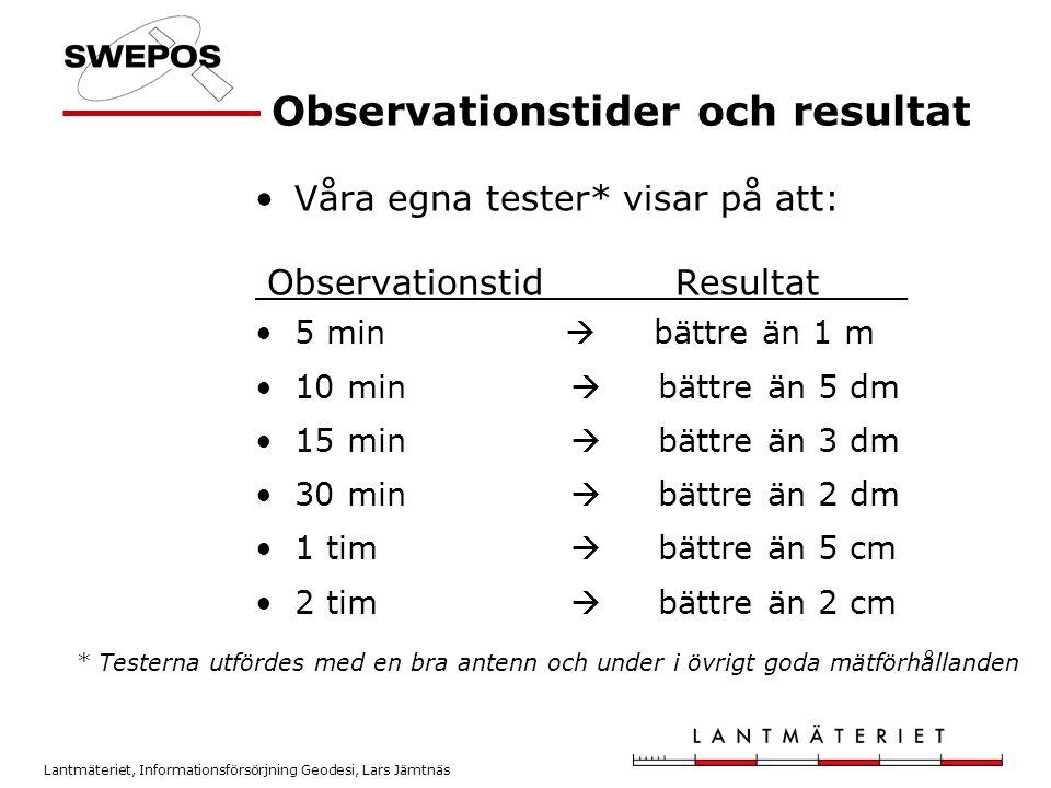 Lantmäteriet, Informationsförsörjning Geodesi, Lars Jämtnäs Observationstider och resultat * Testerna utfördes med en bra antenn och under i övrigt go
